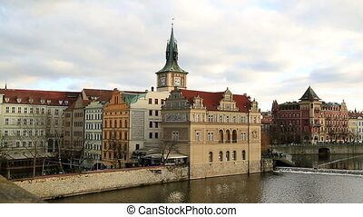 Cityscape of old Prague and Vltava river - View of the Old...
