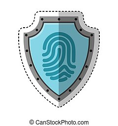 shield with finger print isolated icon