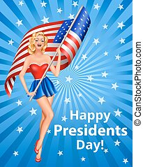 president day - Happy Presidents Day Greeting Card with...