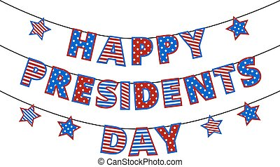 president day - Happy Presidents Day Bunting isolated on...