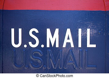 US Mail sign - two signs, one painted, another embossed into...