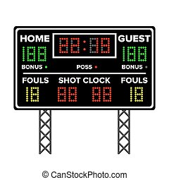 American Football Scoreboard. Time, Guest, Home. Electronic Wireless Scoreboard Timer. Vector Illustration