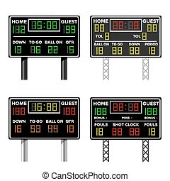 Basketball Scoreboard. Time, Guest, Home. Electronic Wireless Scoreboard Timer. Vector Illustration