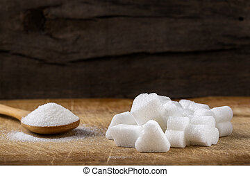 不同, 立方, 木制, 糖, 形狀, 勺, 堆, 充滿
