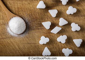 不同, 立方, 木制, 糖, 形狀, 勺, 充滿
