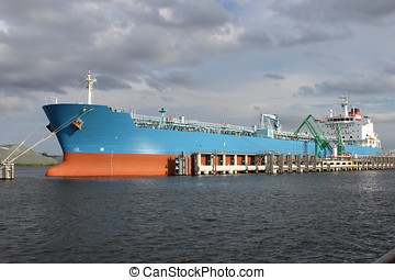 product tanker at oil terminal