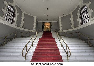 Grand Entrance Staircase to Historic Building Lobby