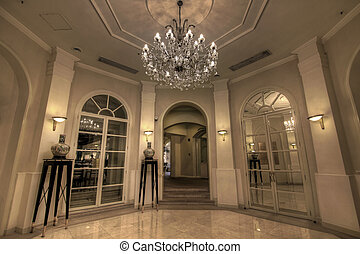 Grand Lobby Foyer with Crystal Chandelier