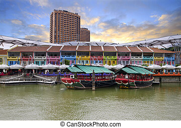 Colorful Historic Houses by River - Colorful Historic Houses...