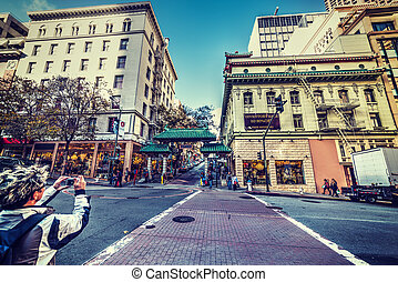 Tourists in Chinatown - San Francisco, CA, USA - Tourists in...