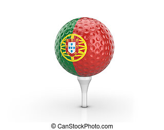 Golf ball Portugal flag