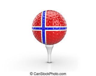 Golf ball Norway flag