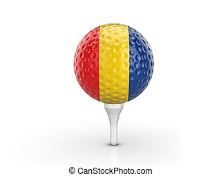 Golf ball Romania flag