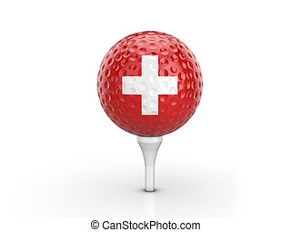 Golf ball Switzerland flag