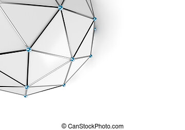 Abstract low poly sphere with connected dots