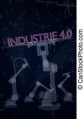 Industry 4.0 illustrated in a 3D rendering with industrial robots and letters