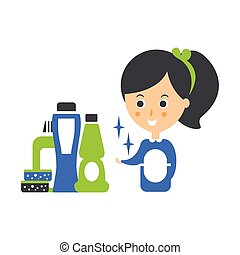 Cleanup Service Maid And Set Of Household Chemistry...