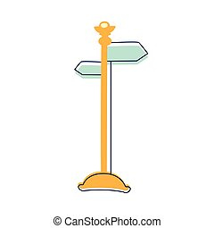 Direction Pointer Street Sign, Cute Fairy Tale City Landscape Element Outlined Cartoon Illustration