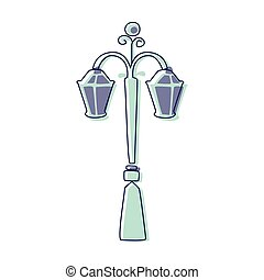 Classy Outdoor Lighting Lantern Lamp, Cute Fairy Tale City Landscape Element Outlined Cartoon Illustration