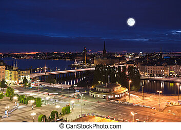 Night scene of the Stockholm at top of Katarina elevator -...