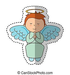 little boy angel character vector illustration design