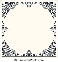 Calligraphic border frame. Design template for wedding greeting card, invitation, menu