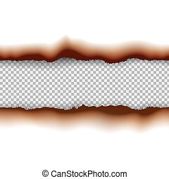 Vector burned paper edges seamless horizontal pattern banners or dividers isolated