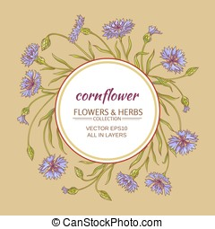 corn flower vector frame - cornflower vector circle frame on...