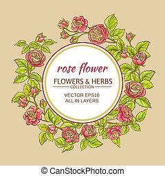 rose vector frame - rose flowers vector frame on color...