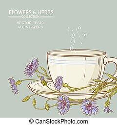 cup of corn flower tea - cup of cornflower tea on color...