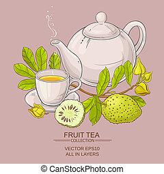 soursop, té,  vector, Ilustración