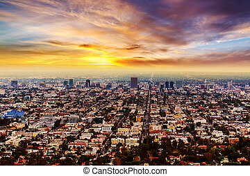 Pink sunset in Los Angeles, California