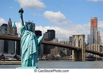 Statue of Liberty and New York City Skyline - The landmark...