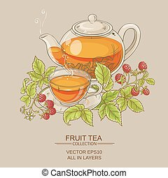 raspberry tea illustration - illustration with cup of...