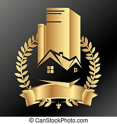 Real estate business golden design for vector