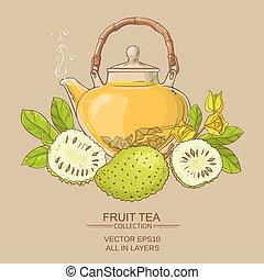 soursop, té,  vector,  illstraton