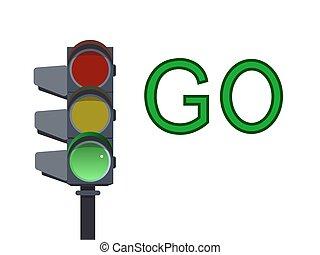Green traffic light. Vector illustration