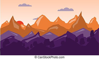 Colorful mountain background, sunrise time.