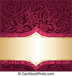 Floral red and gold  luxury vintage invitation design