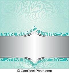 Turquoise green blue floral vintage invitation background design