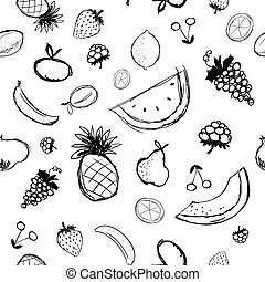 Fruits and berries sketch, seamless background for your...