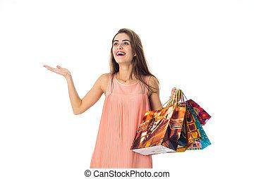 陽気, 袋, 保有物, 彼女, 広がり, 隔離された, 手, 大きい, 背景, 女の子, 贈り物, 白