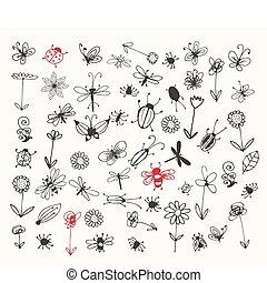 insetto, schizzo, collezione, tuo, disegno