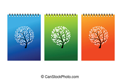 Notebook covers design, art tree