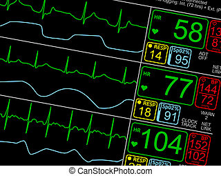 Vital Signs ICU Monitor isolated closeup - Patient's vital...
