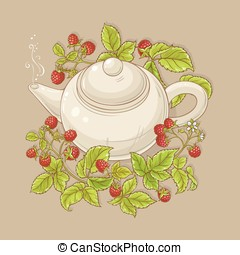 raspberry tea illustration