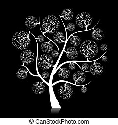 Art tree silhouette on black for your design