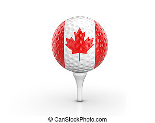 Golf ball Canada flag