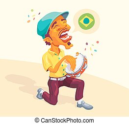 Brazilian Tambourine Player - Brazilian smart guy singing...