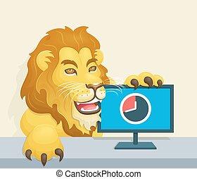The lion - Brazilian Famous Income Tax Concept - Lion beside...